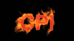 Flame CPI word,fire text. Stock Footage