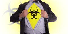 business man with biohazard symbol t-shirt - stock photo