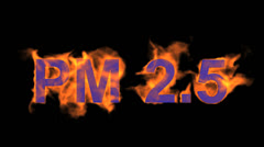 Flame blue PM2.5 word,fire text. Stock Footage