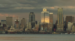 Seattle skyline sunset Stock Footage