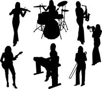 group of music  girls silhouette - stock illustration