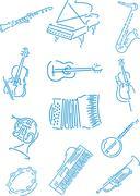 vector music instruments - stock illustration