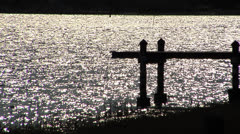 Water, Silhouette of dock on sparking water sunset in Florida USA - stock footage