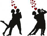 Stock Illustration of illustration of love couples silhouette