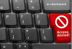 """keyboard, with red key of """"access denied"""" - stock photo"""