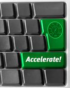"computer keyboard,  with green ""accelerate"" key - stock illustration"