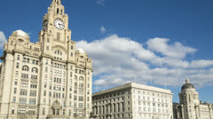 Timelapse of liver building, cunard and port authority, liverpool Stock Footage