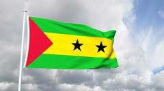 Flag of Sao Tome and Principie Stock Footage