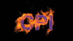 Flame blue CPI word,fire text. Stock Footage