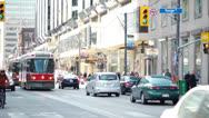 Stock Video Footage of Streetcar at Yonge Street in Toronto