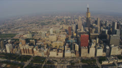 Aerial vertical view Willis Tower downtown Chicago, USA - stock footage