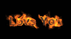 Fire love you,flame text. Stock Footage