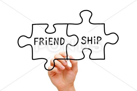 Stock Illustration of friendship puzzle concept