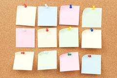 thumbtack and note paper group - stock photo