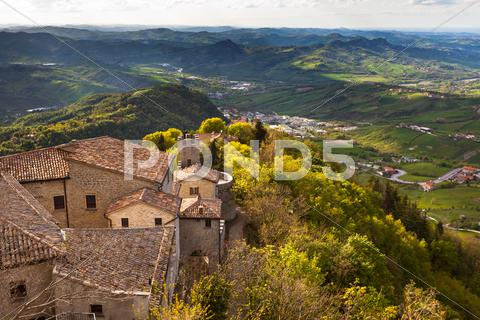 Stock photo of view from titano mountain, san marino at neighborhood