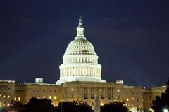 us capitol in the night - stock photo