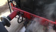 Vehicle shot - view from on board running steam train at coupling device Stock Footage