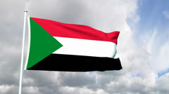 Flag of the Sudan - stock footage