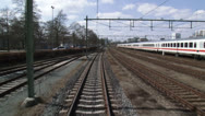 Stock Video Footage of vehicle shot - railway tracks shunting emplacement at station
