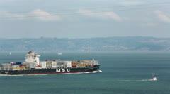 Cargo ship San Francisco Bay California HD 5487 Stock Footage
