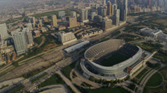 Aerial view Chicago Bears Football Stadium, Chicago, USA - stock footage