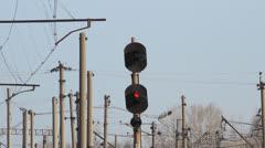 Railroad. Traffic light (semaphore) Stock Footage