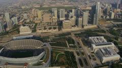 Aerial view Chicago Bears Football Stadium, Chicago, USA Stock Footage