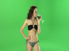 Stock Video Footage of Girl with attitude drinks wine Green Screen