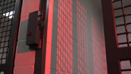 Stock Video Footage of Jail door closes  and latches with dramatic red lighting and echo