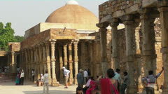 Tourists at an Ancient Indian Palace Complex Stock Footage