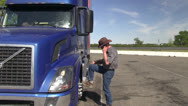 Stock Video Footage of big rig truck driver, truck stop