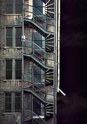 spooky run down building - stock photo