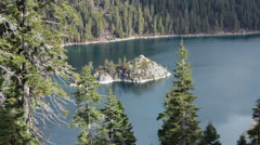 Emerald Bay Lake Tahoe California  island HD 5342 Stock Footage