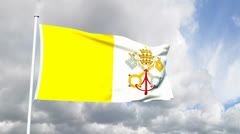 Flag of Vatican City Stock Footage