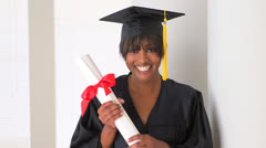 Excited black woman graduate Stock Footage