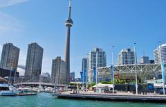 CN Tower in Toronto Waterfront in Canada Stock Photos