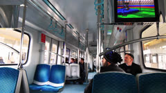 Interior view of a modern train Stock Footage