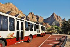 Zion National Park Shuttle Bus in Utah USA - stock photo