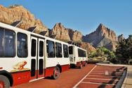 Stock Photo of Zion National Park Shuttle Bus in Utah USA