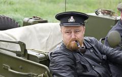 kiev, ukraine - may 13: members of red star history club. portrait of the nav - stock photo