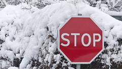 Stop carefully snow journey is limited Stock Photos