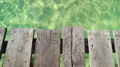 Wooden Pier Over Tropical Turquoise Ocean Water in Cancun, Mexico Stock Footage