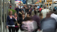 Stock Video Footage of Crowd of people walking time-lapse on city street
