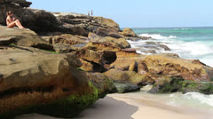 Waves hitting rocks at Bronte beach (1) Stock Footage