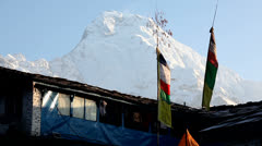 Himalayan Mountain Peak Buddhist Prayer Flags In Nepal Stock Footage
