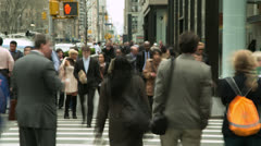 Crowd of business commuter people walking city street timelapse - stock footage