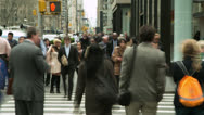 Stock Video Footage of Crowd of business commuter people walking city street timelapse