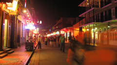 Bourbon Street New Orleans Time-Lapse (2K) Stock Footage