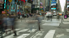 Crowd of people walking time-lapse on city street Times Square Stock Footage