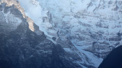 Avalanche Tears Down Himalayan Mountain Annapurna South Stock Footage